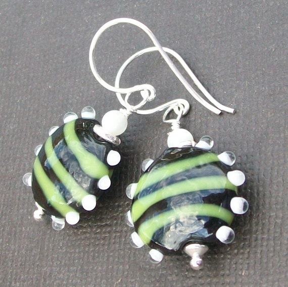 lampwork earrings bumpy bead black with green stripes- Bzzzz