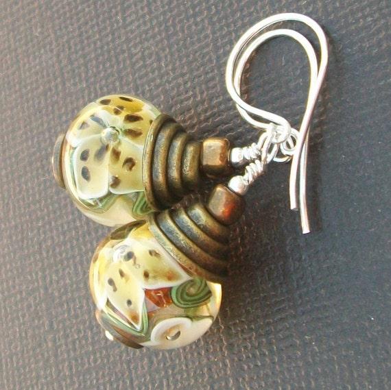 lampwork earrings encased floral  beads-   lily