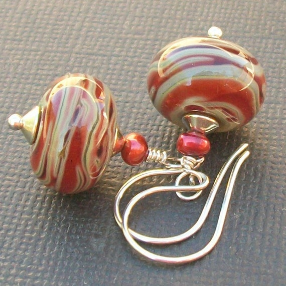 earrings boro glass mixed red, maroon, tan beads-   l'aire