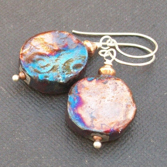 raku clay earrings copper  teal purple patina organic block- cu swirl