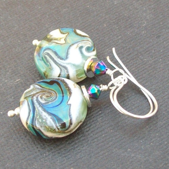 lampwork earrings metallic ivory blue verdigris swirl glass beads-  seafoam II