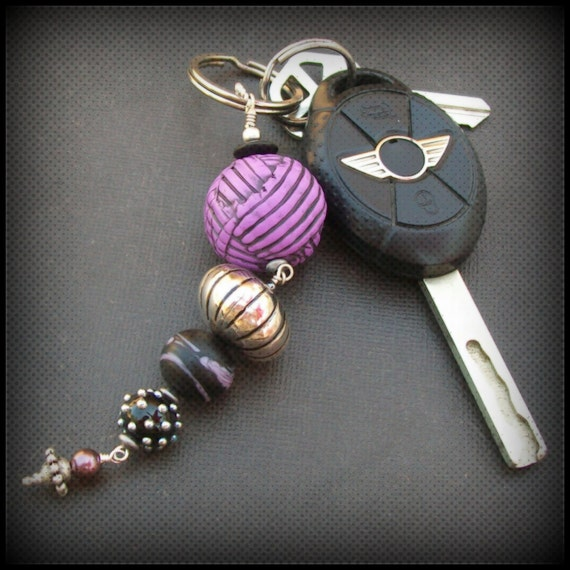 key ring chunky lampwork glass and polymer clay  purple, black, white and silver beads- ball o' yarn