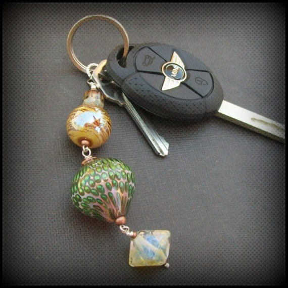 key ring chunky lampwork glass gold, green and champagne colored beads- champagne