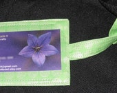 Lime green luggage tag
