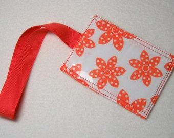 Awesome orange flower luggage tag - white background
