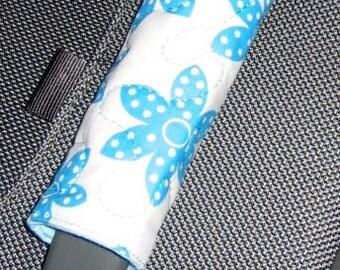 Blue Flower luggage handle wrap - white background