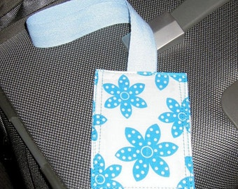 Blue Flower luggage tag - white background