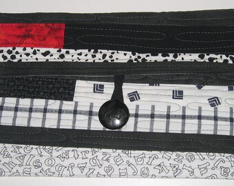 Clutch for Kindle - Black, white and red with water stitching