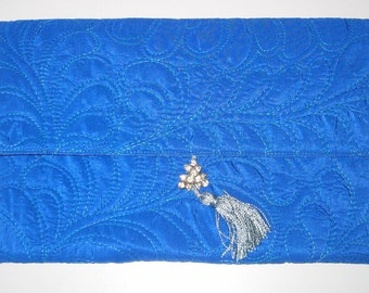 Clutch - Peacock blue satin quilted with feathers