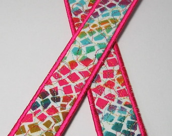 Bright multi bookmark with neon pink trim - long