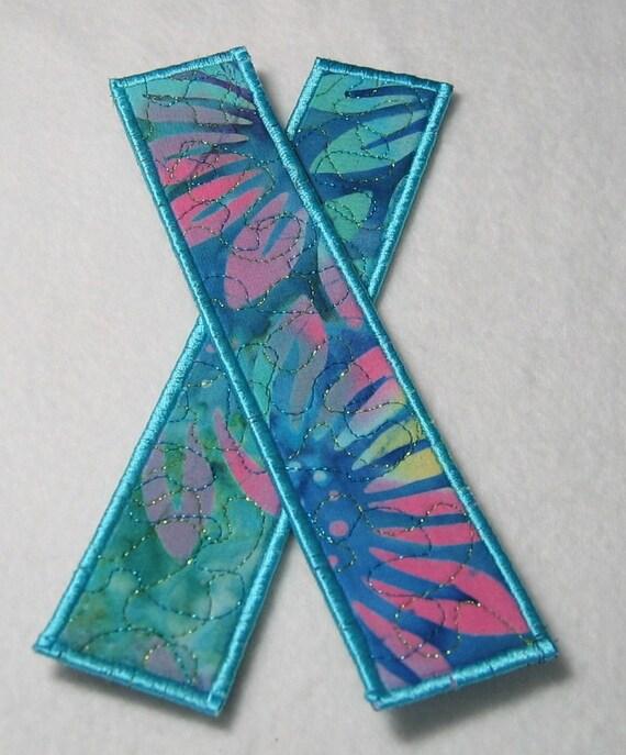 Pink and blue flower bookmark - aqua trim