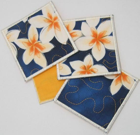 Frangipani coasters (set of 4 - white trim)