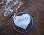 Promise II Hand Stamped Sterling Silver Heart in a Circle Necklace