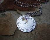 Mine Too Sterling Silver Disc Hand Stamped Keepsake Family Birthstone Crystal Necklace