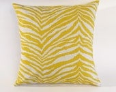 Yellow Zebra Print 17 inch Pillow Cover