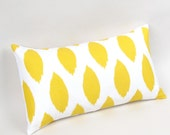 Yellow and White Ikat Pillow Cover 12 by 20 inch
