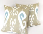 Blue and Brown IKAT Linen Pillow Covers Set of Two 20""