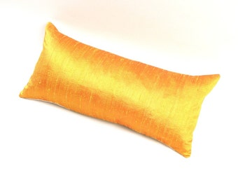 Yellow Silk Pillow 10 by 18 inch - Small Yellow Pillow - Yellow Silk Lumbar Pillow