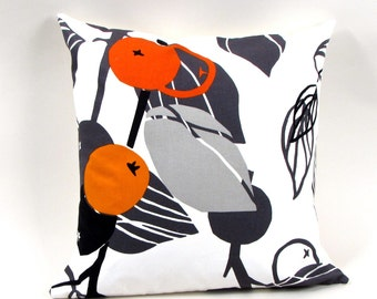 Orange Berry 18 inch Pillow Cover with White or Black Back