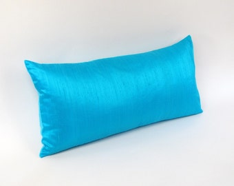 Turquoise Silk Lumbar Pillow Cover 12 by 20 inch