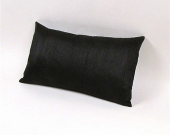 "Black Dupioni Silk Pillow Cover 12"" by 20"""
