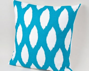 Blue and White IKAT Pillow Cover 18 inch
