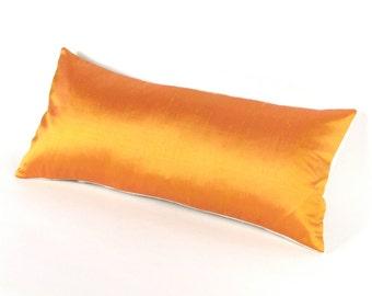 Golden Harvest  Silk Pillow - GOLD SILK Cover - Orange Silk Pillow - Orange silk covers