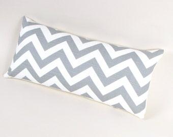 Gray and White Chevron Stripe Pillow