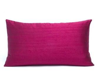 "Burgundy Silk Pillow Cover 12"" x 20"" - 12"" x 24"" - Wine Silk Pillow Cover - Maroon Silk Pillow Cover"