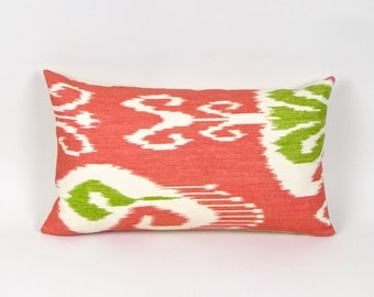 "Pink and Green IKAT Linen Pillow Cover 12"" by 20"""