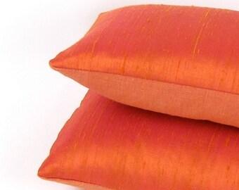 Tangerine Tango Small Silk Pillow - Orange Lumbar Pillow - Small Orange Throw Pillow