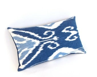 "Navy Blue IKAT Linen Pillow Cover 12"" by 20"""