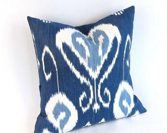 """Navy Blue IKAT Linen Pillow Cover 18"""""""