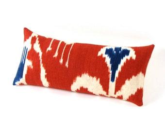 "Red and Blue IKAT Linen Pillow 8.5"" x 17.5"""