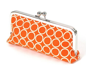 Orange and Ivory Circles Clutch with Chain - ORANGE CLUTCH - orange wristlet
