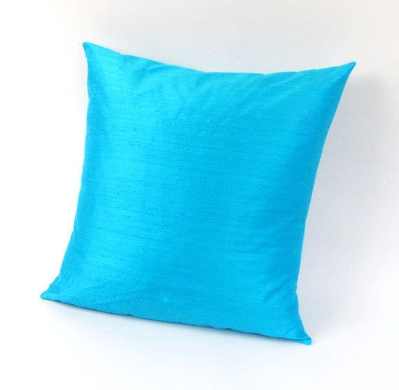 Turquoise Silk Pillow Cover 18 inch, 20 inch, 22 inch