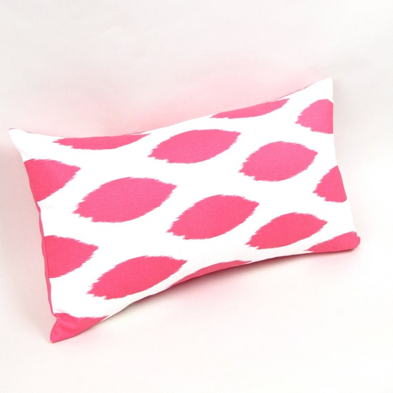 Pink and White Ikat Pillow Cover 12 by 20 inch