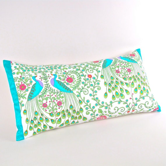 Peacocks Pillow Cover with Aquamarine Silk Trim 12 by 24 inch