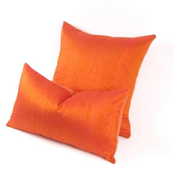 Tangerine Tango Silk and Linen Pillow Cover -  ORANGE SILK PILLOW Cover - Burnt Orange Silk Pillow Cover
