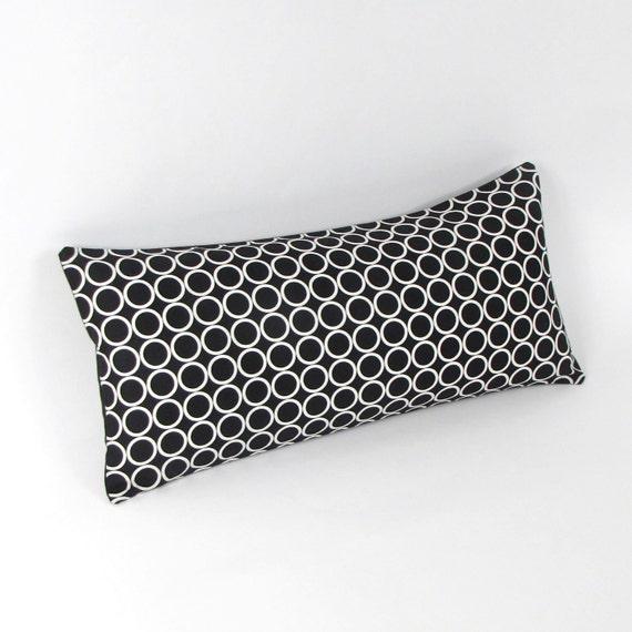 "Black and White Circles Pillow 8"" x 17"""