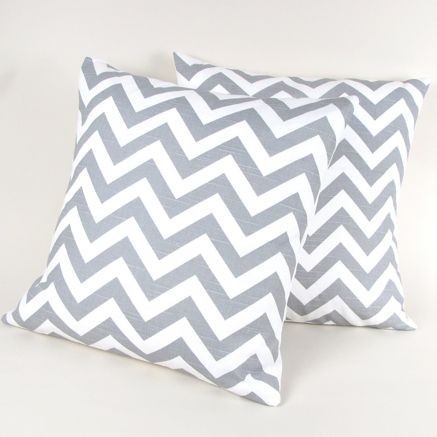 gray and white chevron stripe pillow covers se t of by micasabella. Black Bedroom Furniture Sets. Home Design Ideas