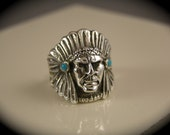 Sterling Silver American Indian Native Chief Head Ring