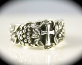 Sterling Silver Grapes and Cross Ring Band