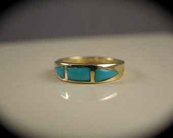 14k Gold Turquoise Ring Band