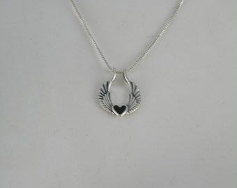 Sterling Silver Heart with Wings & sterling chain