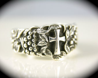 Sterling Silver  Cross Ring, Grape Ring, Religious Ring, Cross Band