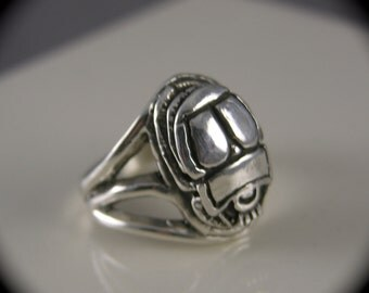 Sterling Silver Scarab Beetle Ring by freedomjewelryusa