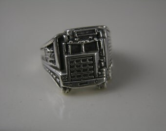Sterling Silver Big Rig Truckers Ring