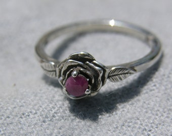 Sterling Silver Small Rose Ruby Ring