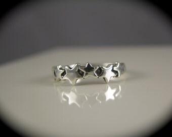 Sterling Silver Multi Star Ring sz 8